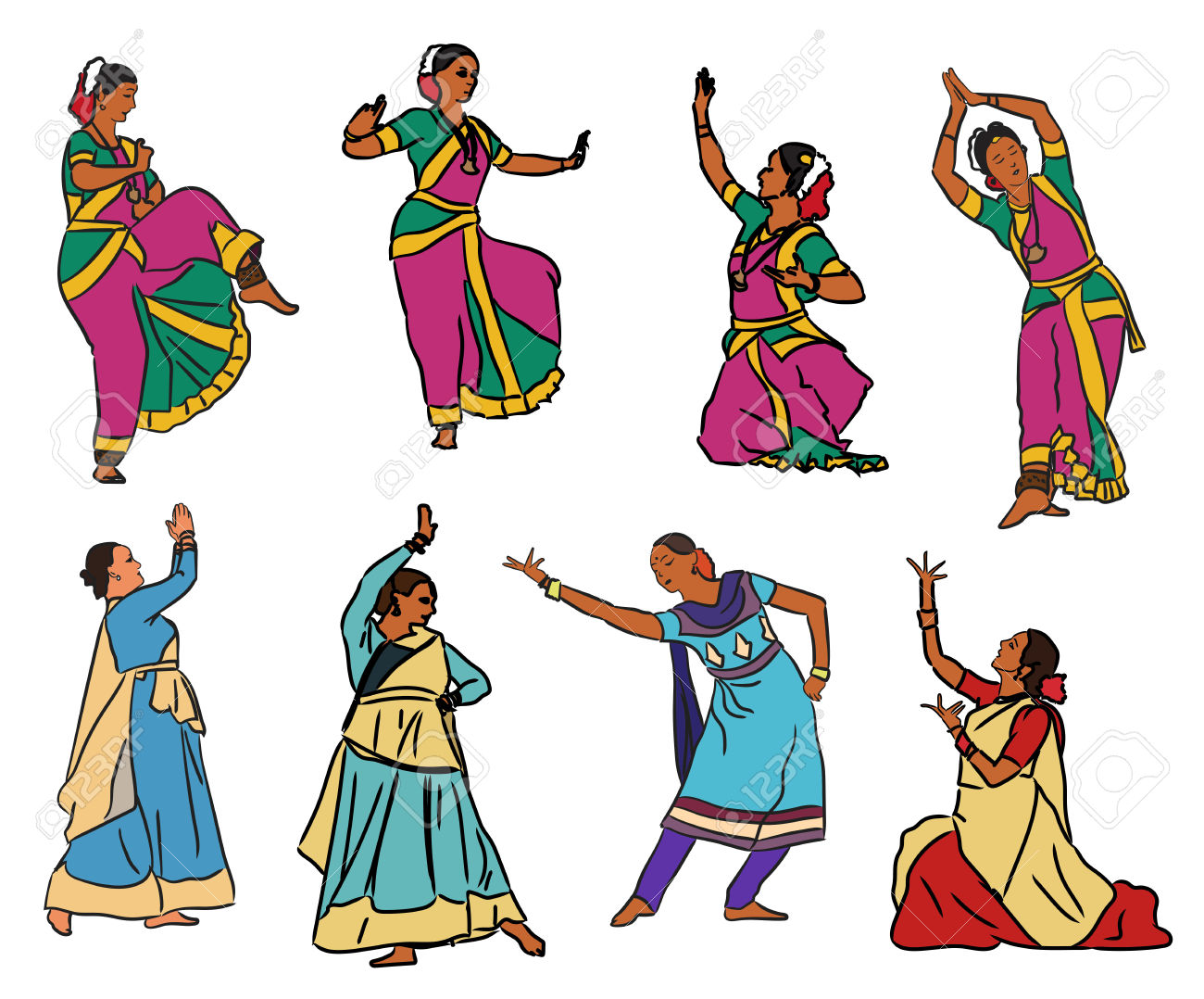 195 Indian Classical Dance Stock Illustrations, Cliparts And.
