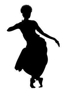Indian classical dance painting, Bharatanatyam, Goddess dancer.