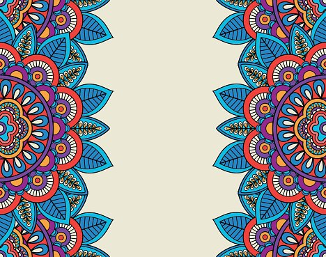Indian Doodle Boho Floral Borders premium clipart.
