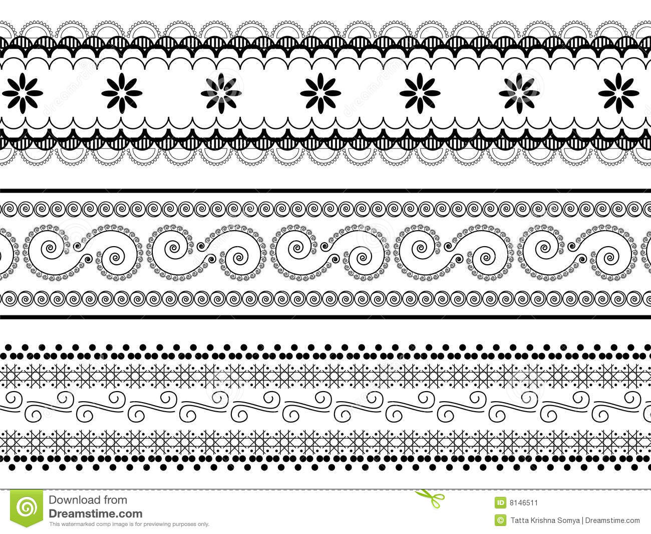 Henna borders stock illustration. Illustration of motif.