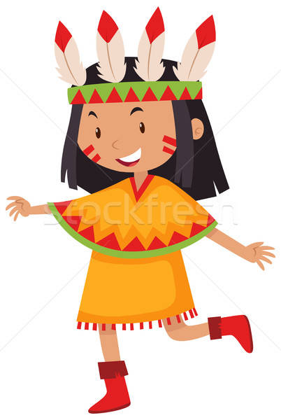 Little girl in native american indian costume vector.