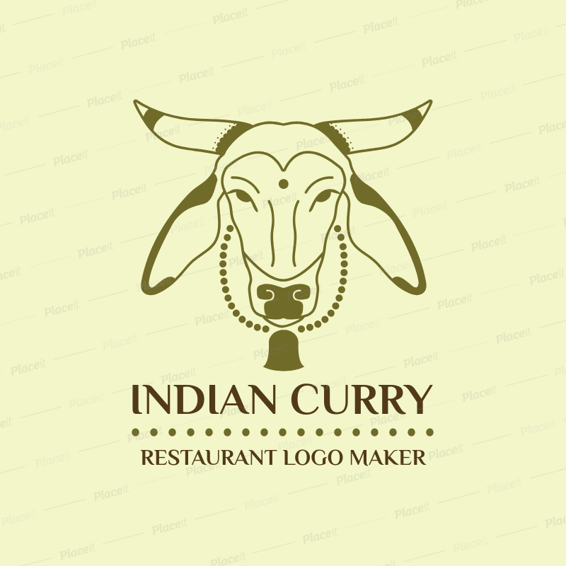Indian Restaurant Logo Template with Holly Cow Clipart 1832a.
