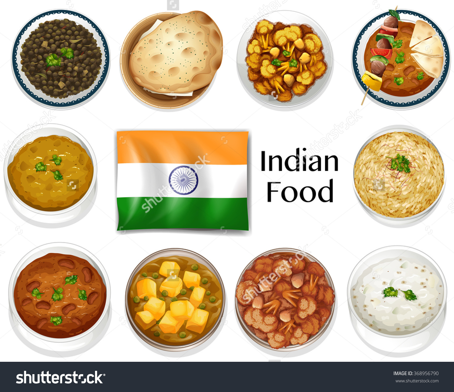 Different Dish Indian Food Illustration Stock Vector 368956790.