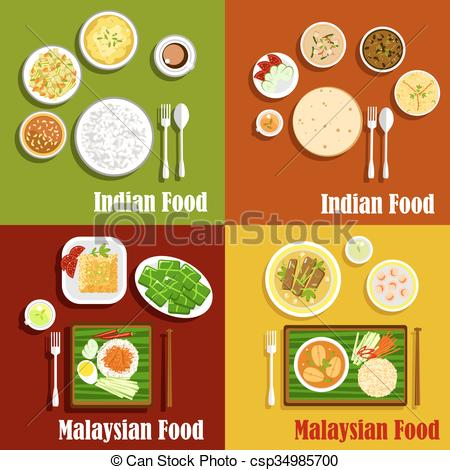 Vector Clipart of Malaysian and indian cuisine dishes.