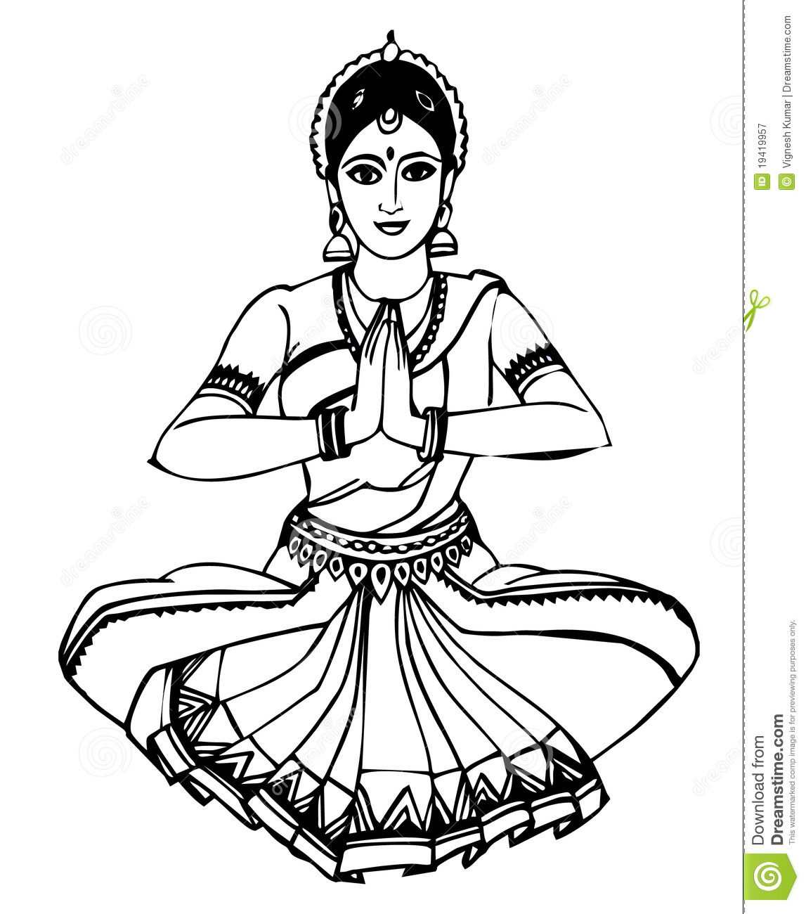 Indian dance clipart black and white.