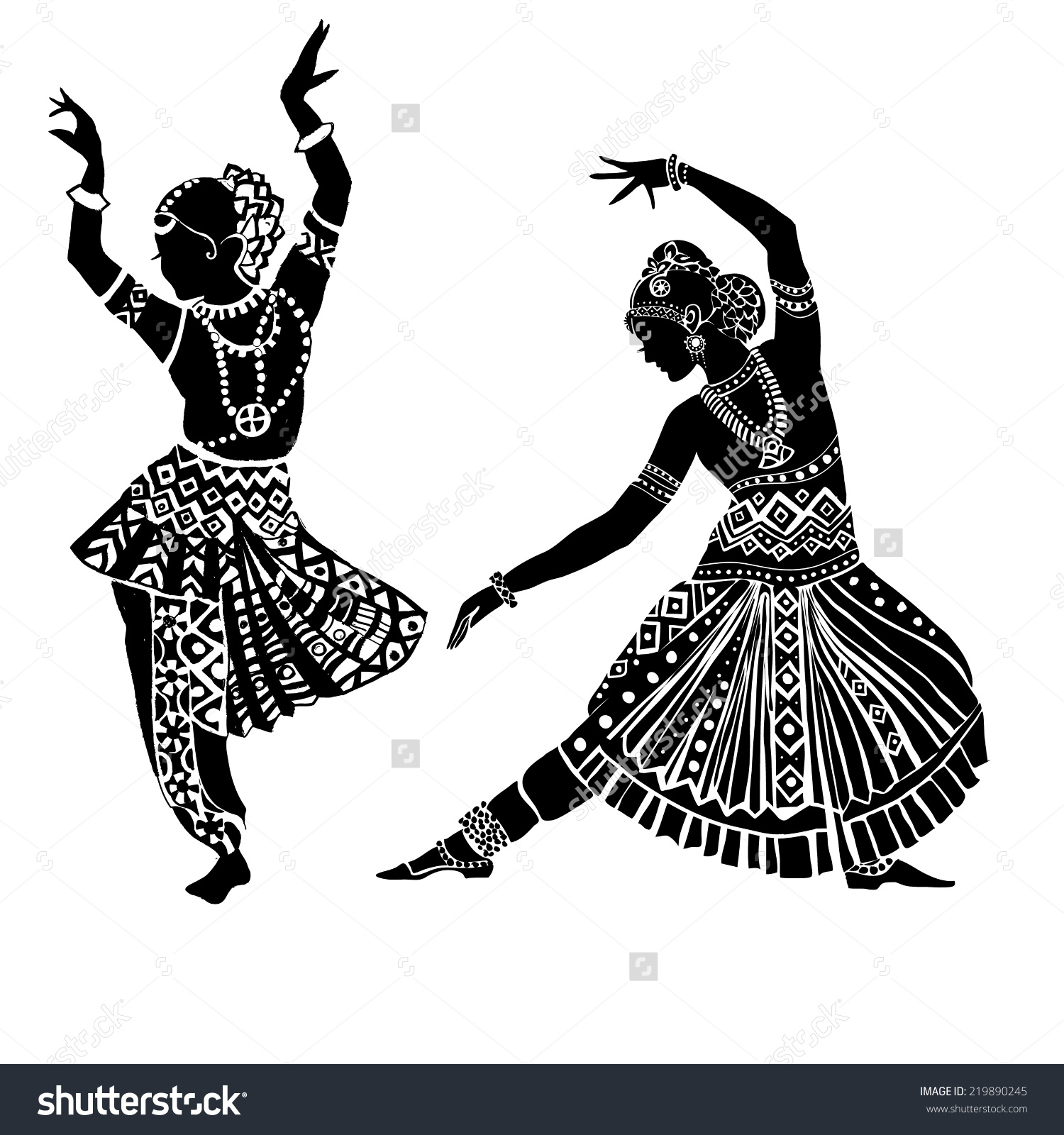 Indian music and dance clipart.