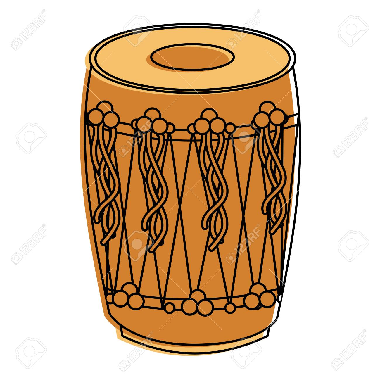 Musical Instrument Punjabi Drum Dhol Indian Traditional Vector.