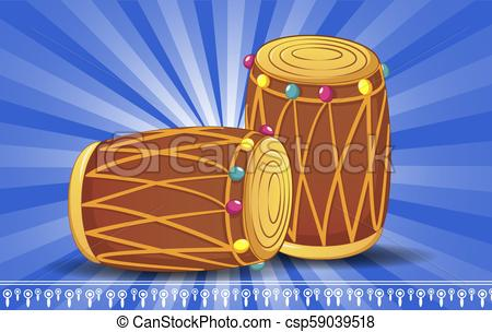 Indian drums concept banner, cartoon style. Indian drums concept.