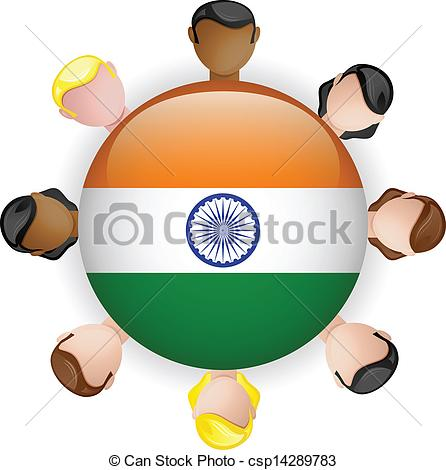 Vector of India Flag Button Teamwork People Group.