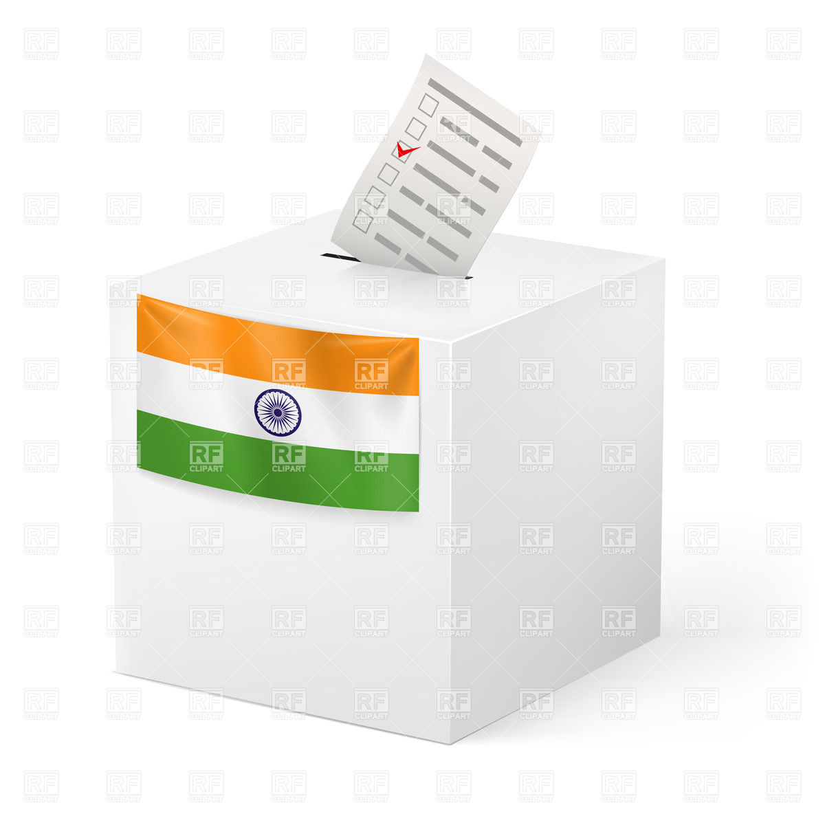 Election in India: ballot box with voting paper i Vector Image.