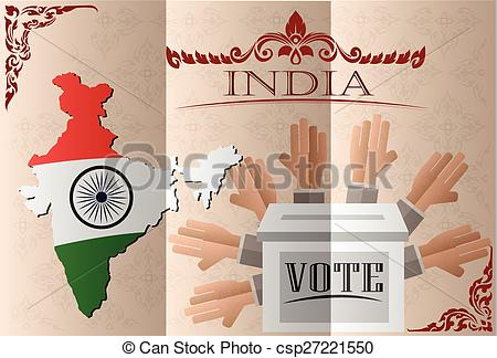 Clipart Vector of India election ballot box for collecting votes.