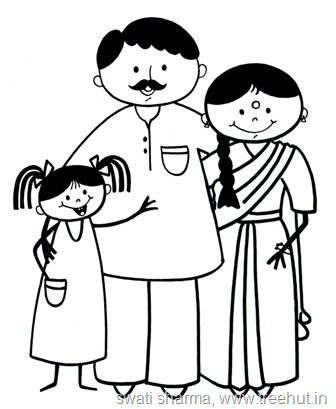 Indian Family Clipart Black And White