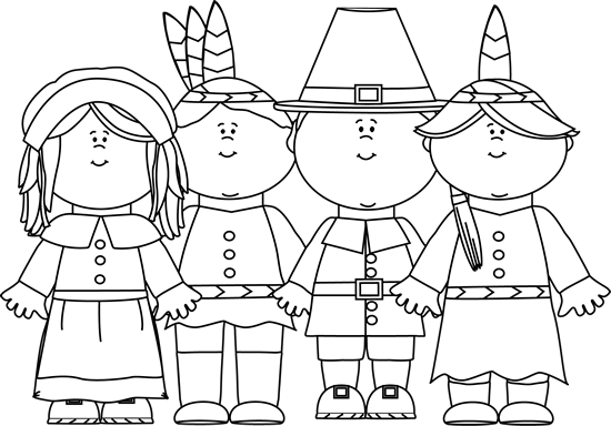 Thanksgiving Clip Art Black And White Indians Pilgrims