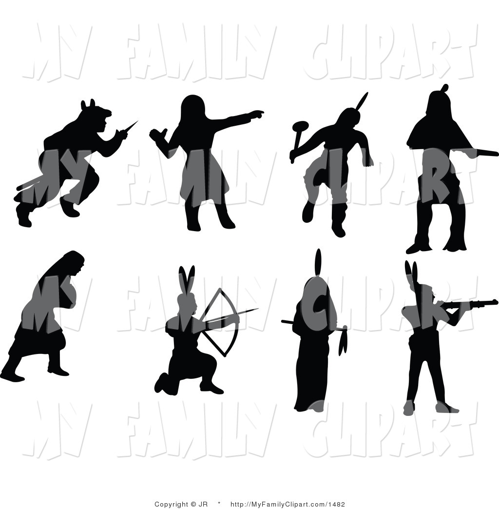 Vector Clip Art of Native American Indian Silhouettes by JR.