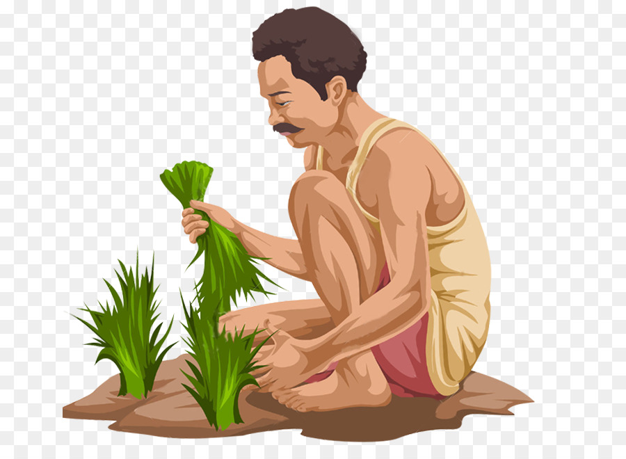 Indian Farmer With Cow Clipart.
