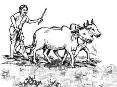 Indian farmer clipart black and white.