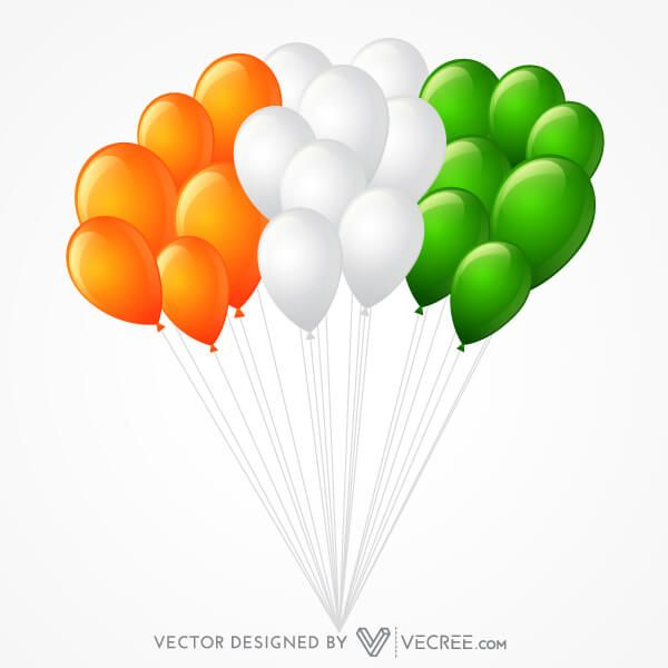 Flying Tricolor Balloons in Indian Flag Colors Vector Image.