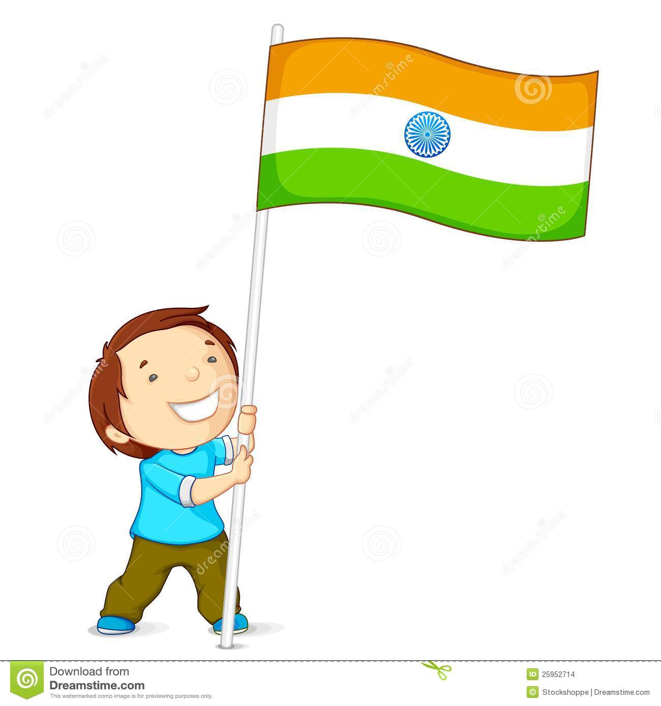 Boy Holding Indian Flag Stock Images.