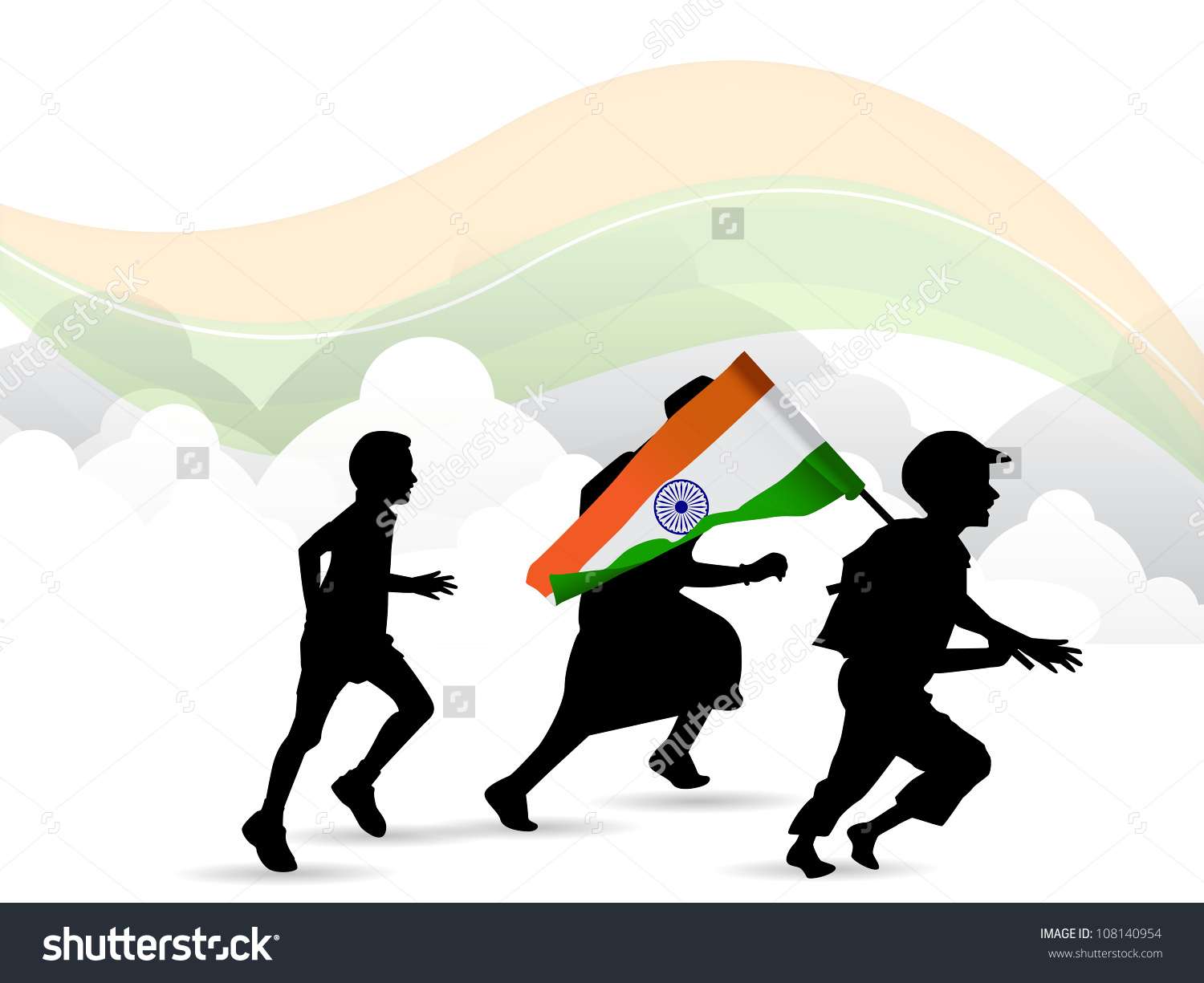 Children Silhouette On Indian Flag Waving Stock Vector 108140954.