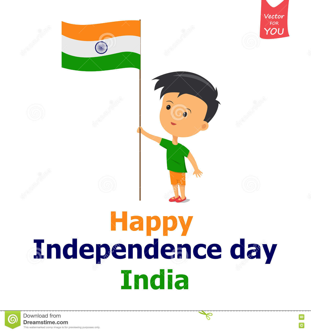 India Independence Boy Stock Illustration.