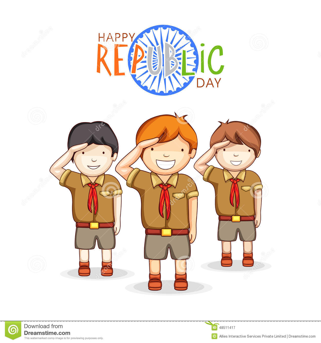 Kids Saluting Indian Flag Stock Vector.