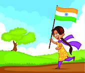 Stock Photo of Children running with the Indian Flag u22498003.