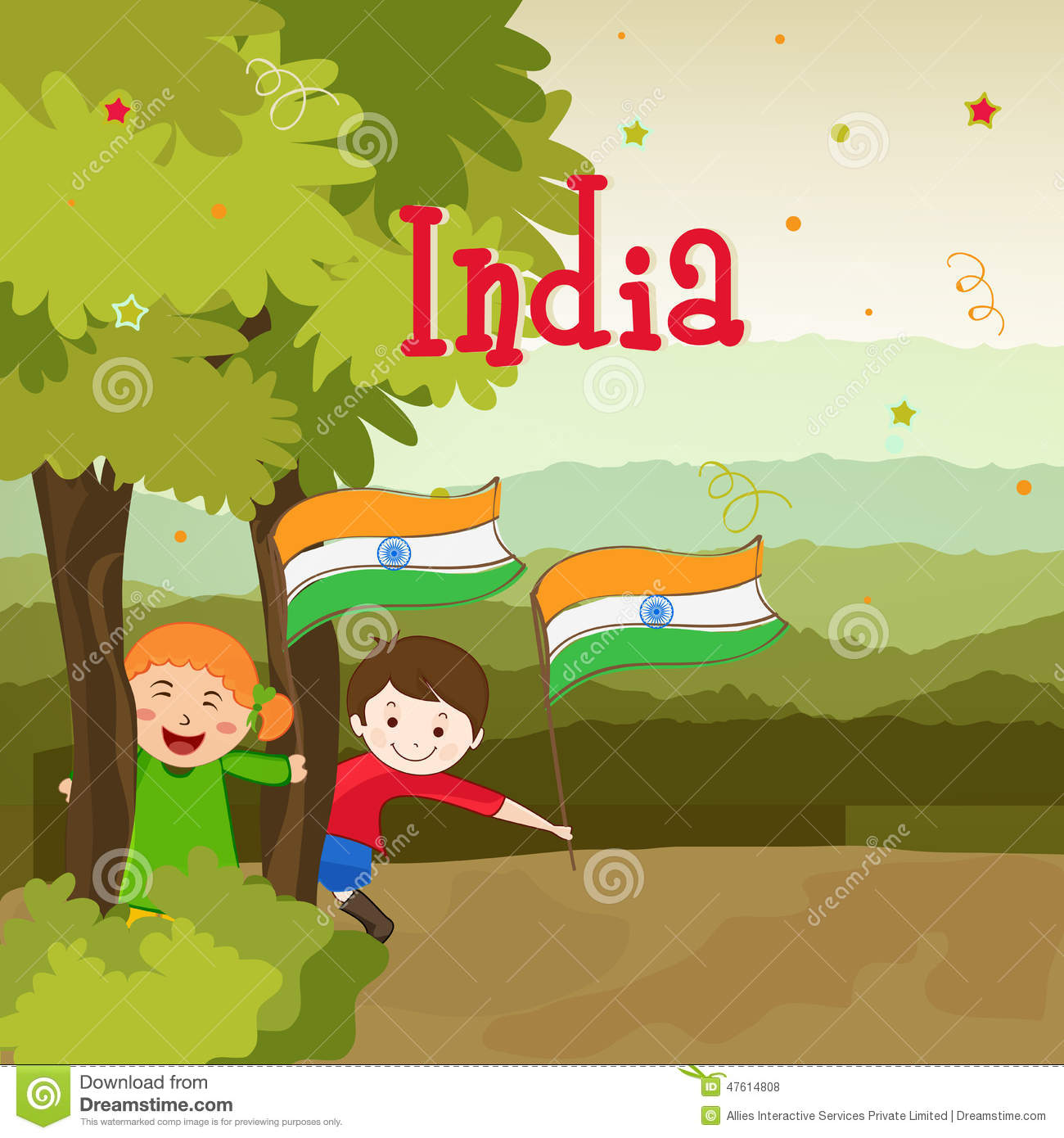 Cute Kids With National Flag For Indian Republic Day. Stock.