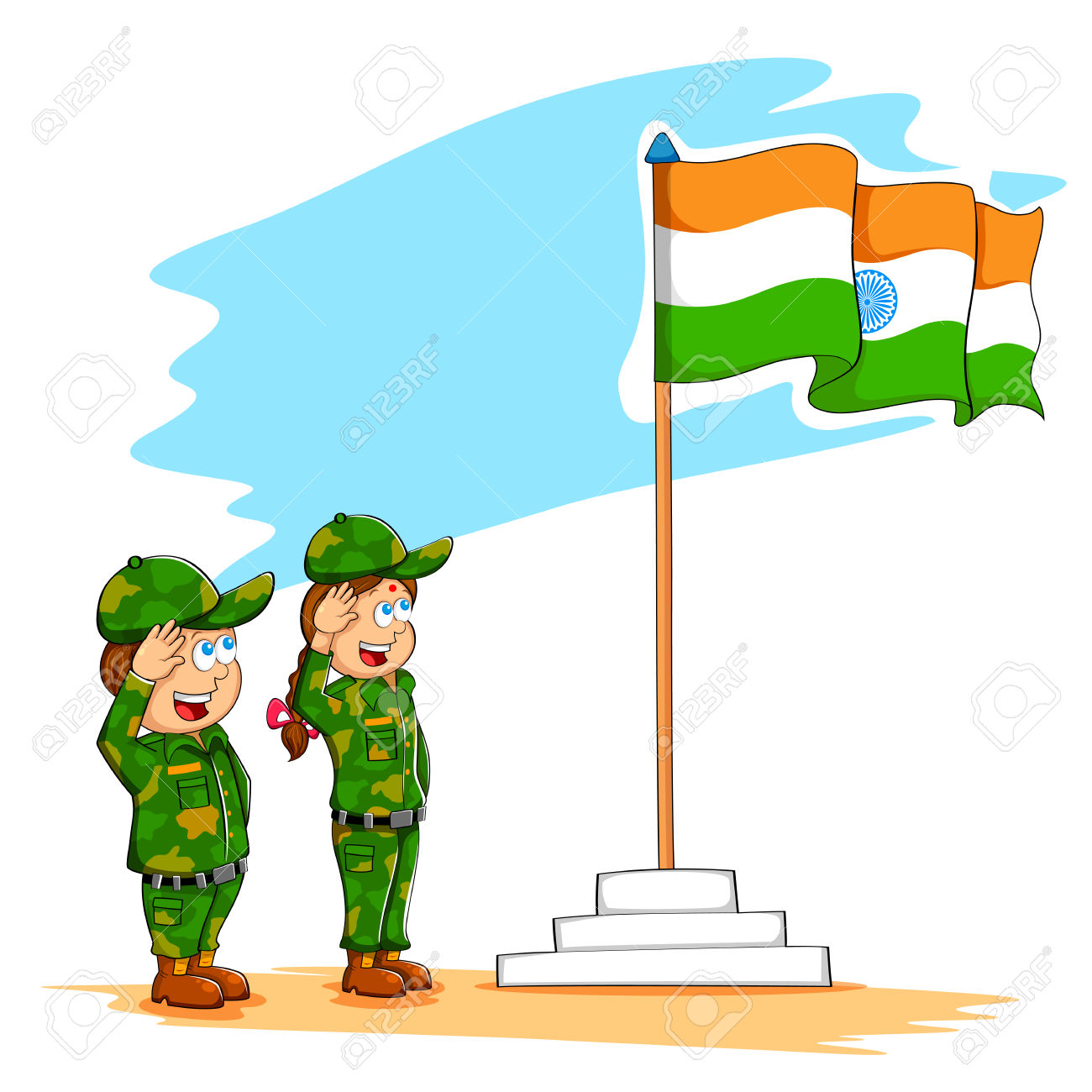 Illustration Of Kids Saluting Indian Flag Royalty Free Cliparts.