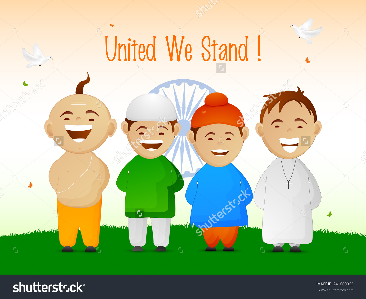 India Cute Little Kids Different Religion Stock Vector 241660063.