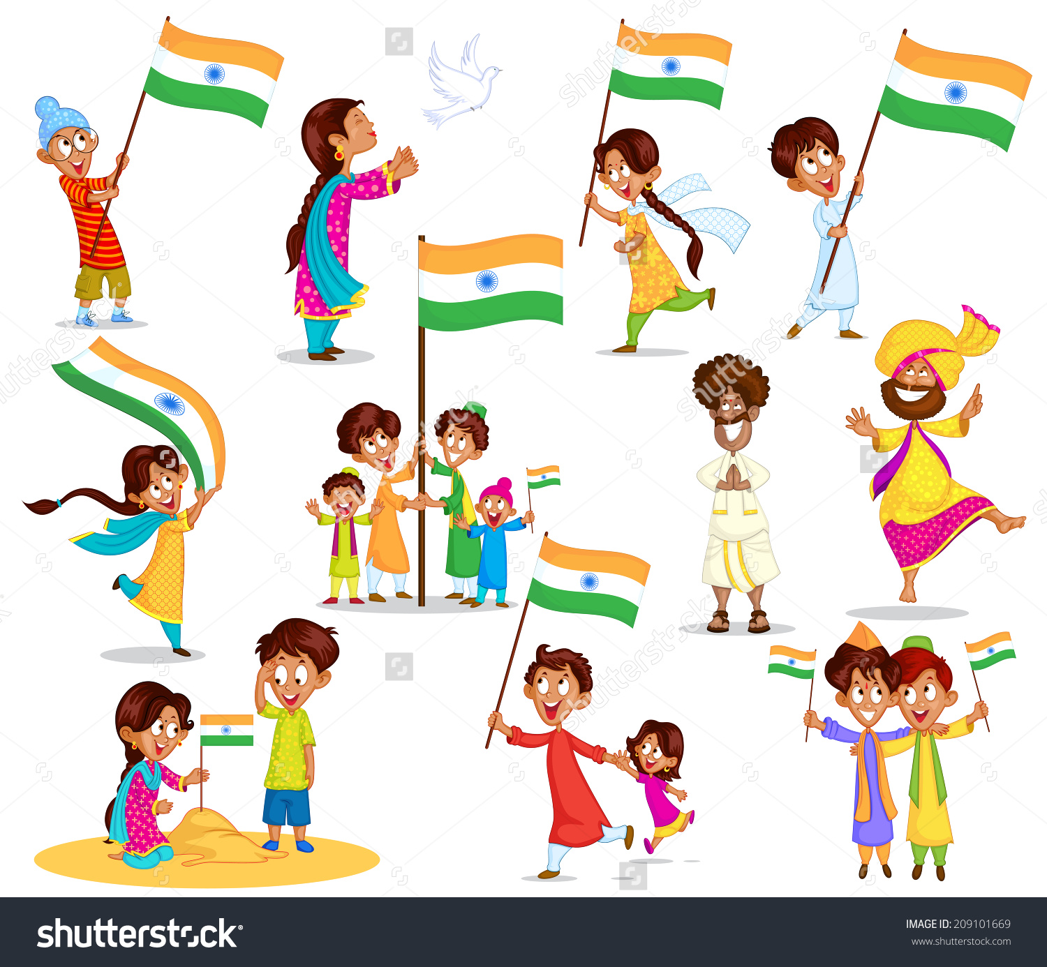 Indian Kid Flag India Vector Stock Vector 209101669.