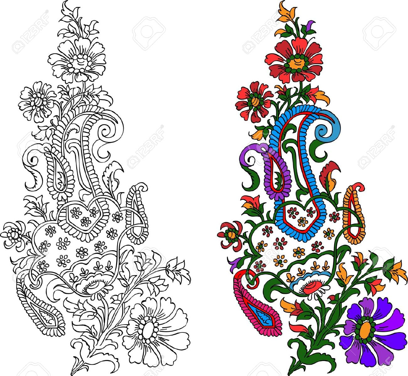 Indian Textile Motif With Colored Live Painting Royalty Free.