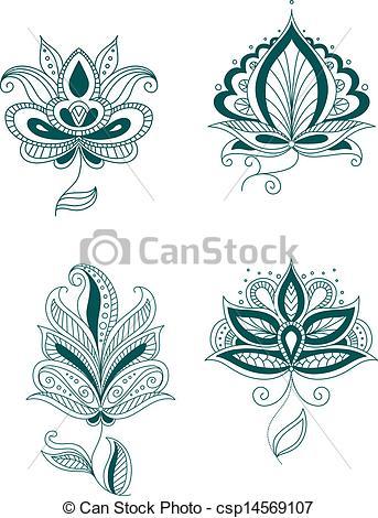 Persian Flower Clipart.