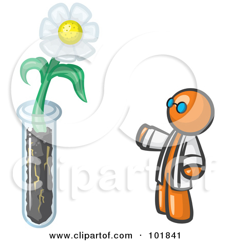 Clipart of a Cartoon White Male Scientist Writing down Data in a.