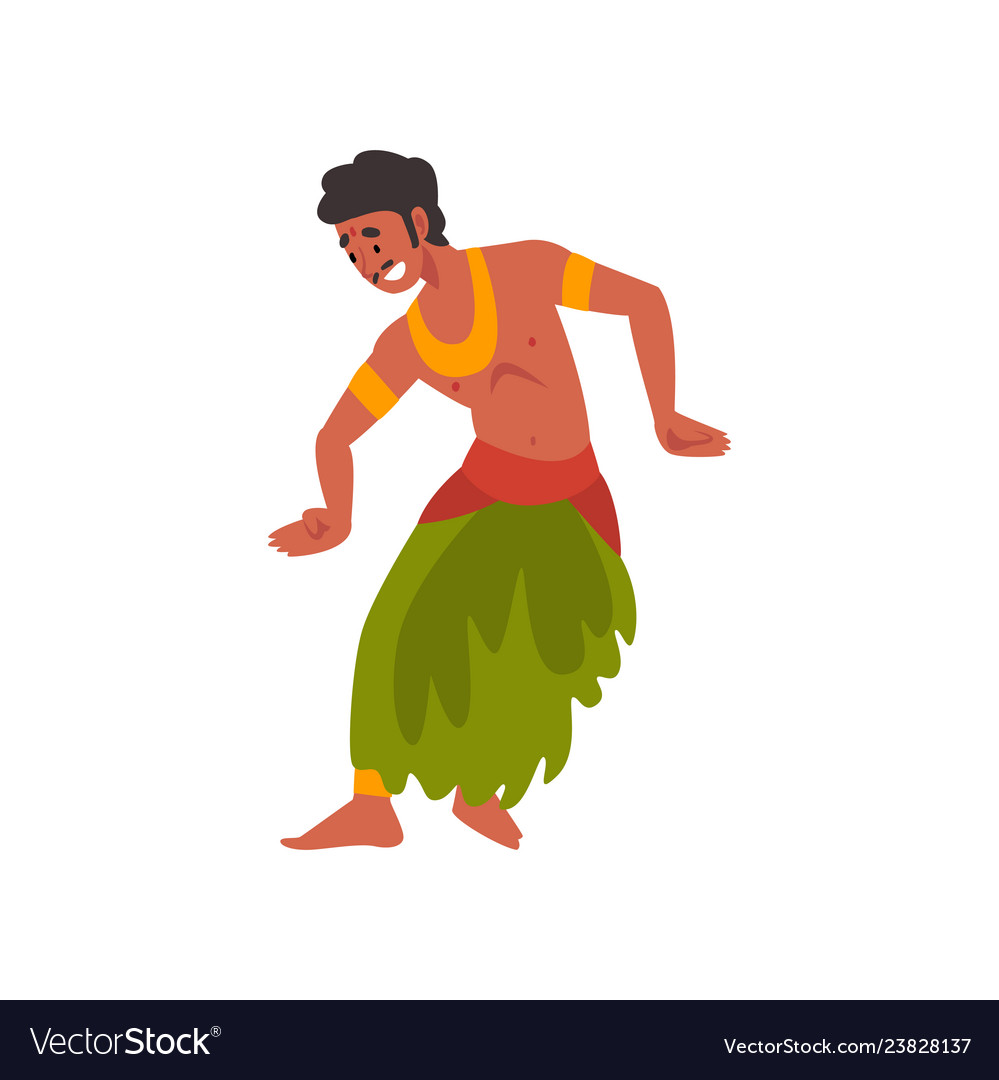 Young man performing folk dance indian dancer in.