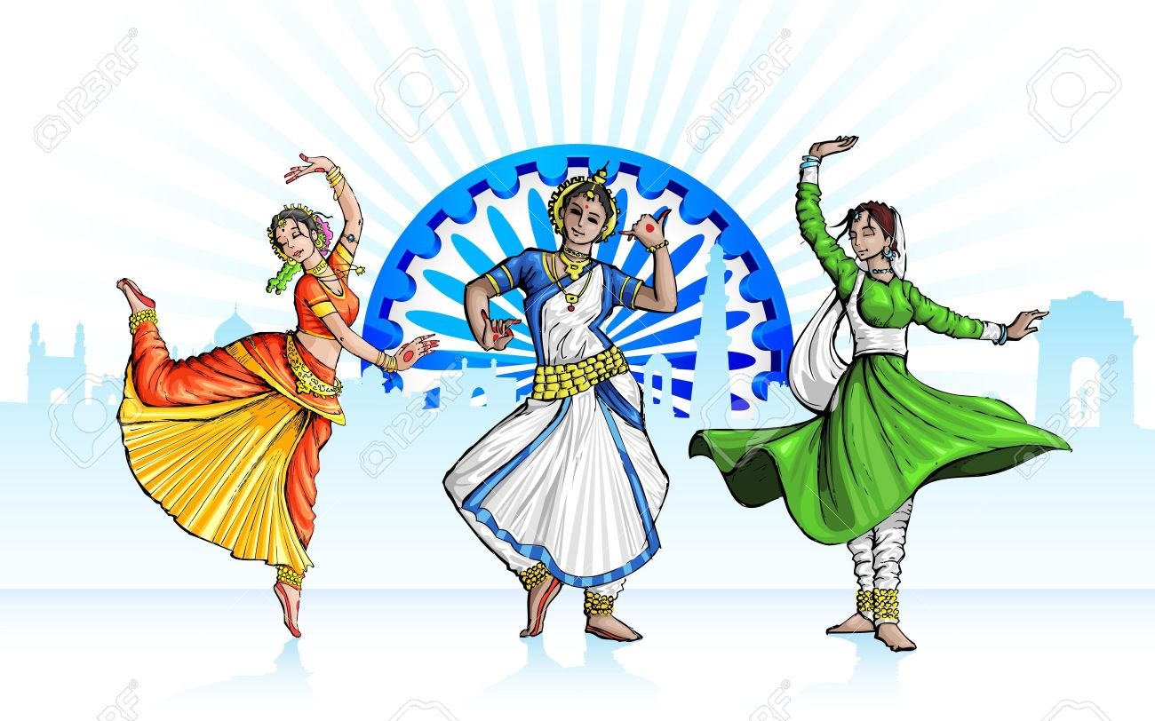 illustration of Indian classical dancer performing in tricolor...