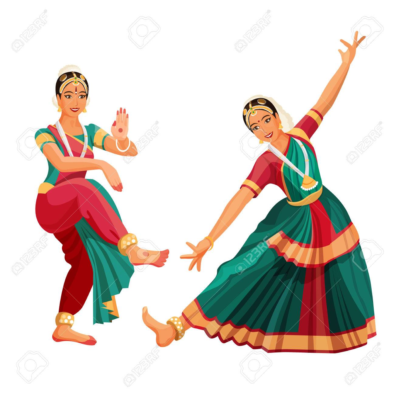 Woman dancer in national indian cloth dancing Bharatanatyam folk...
