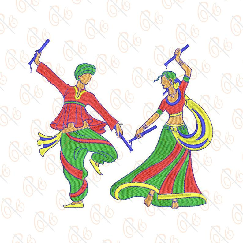 Couple Playing Traditional Indian Dance Embroidery Design 2 Sizes.