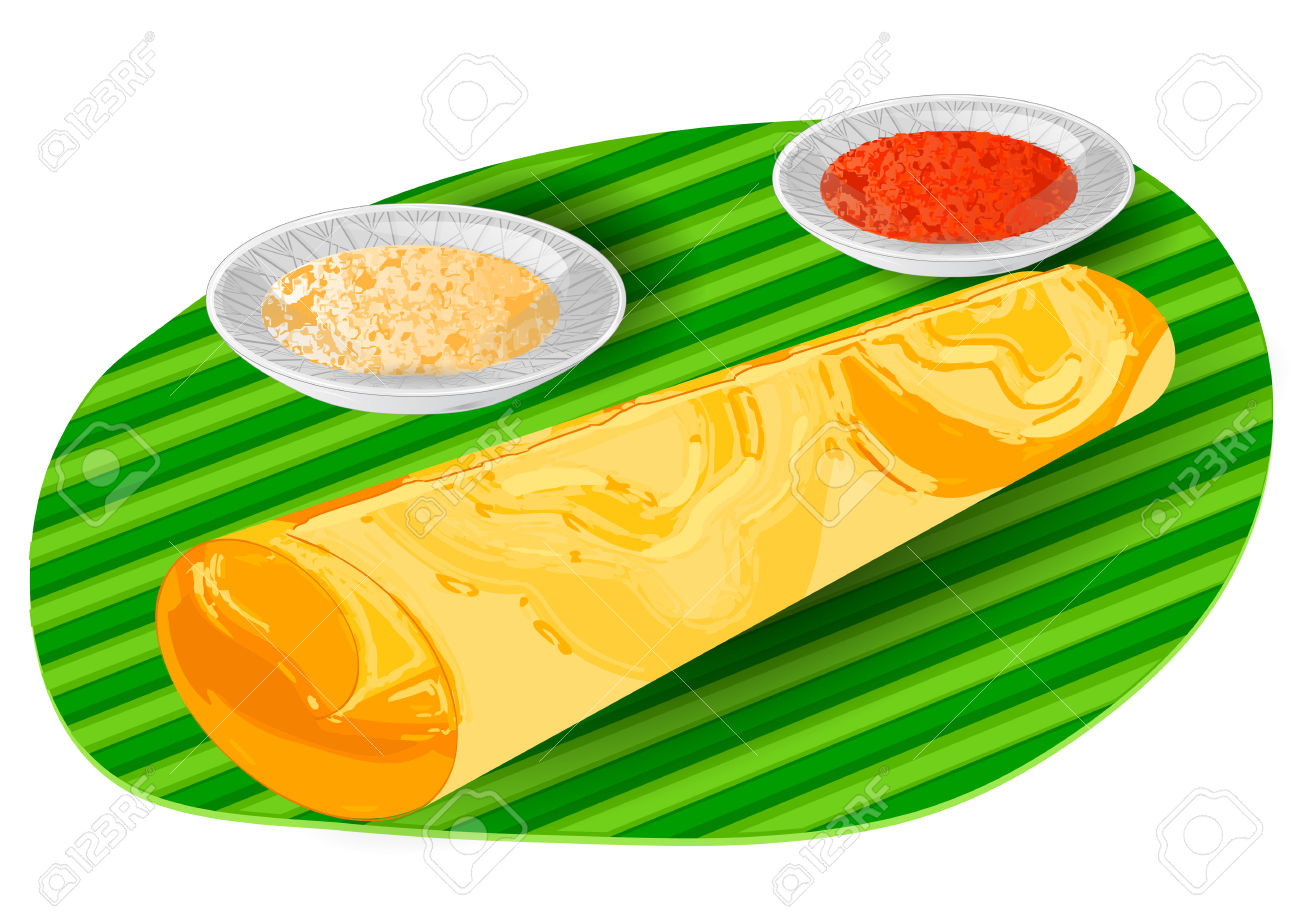 Plate of indian food clipart.