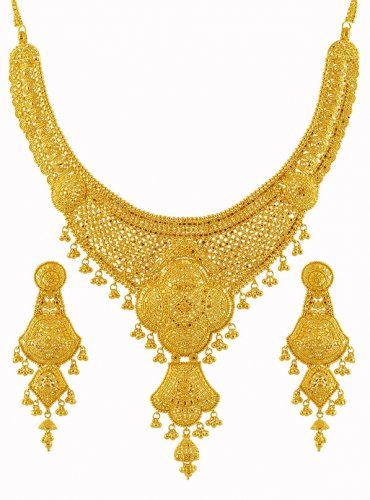 22k Gold Bridal Necklace Set in 2019.