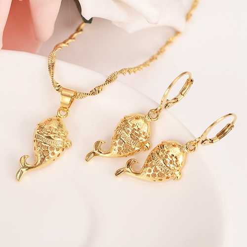 Gold Dubai India PNG animal fish dangle Earrings Necklace Jewelry Sets for  Women Girls wedding bridal Jewelry accessories gifts.