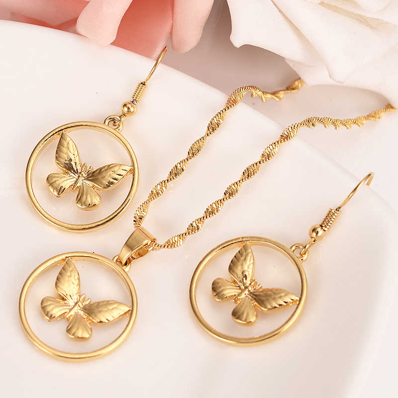 Gold Dubai India PNG butterfly dangle Earrings Necklace Jewelry Sets for  Women Girls wedding bridal Jewelry accessories gifts.