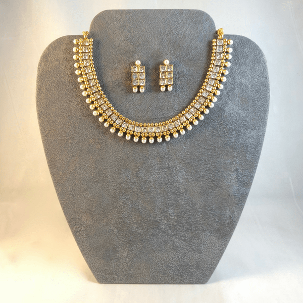Polki Stone and Faux Pearl Indian Necklace Set.