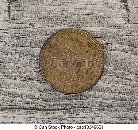 Stock Photo of Initial Year of Indian Head Cent on Synthetic Old.