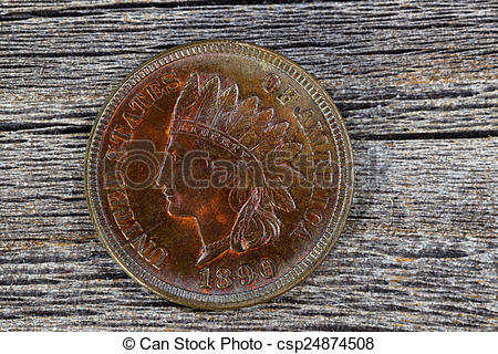 Stock Photography of Indian Head Cent in uncirculated condition on.