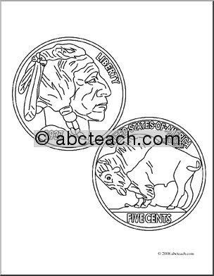 Indian head buffalo nickel clipart.