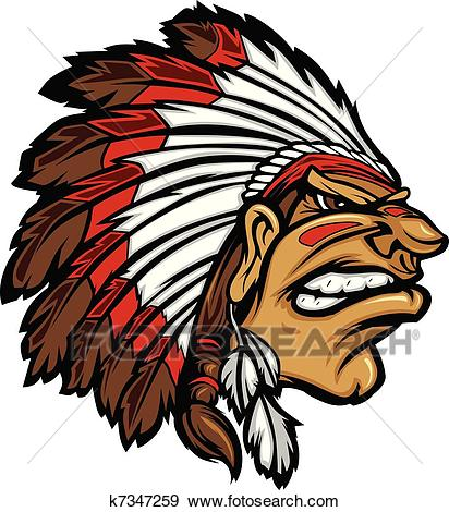 Indian Chief Mascot Head Cartoon Ve Clip Art.