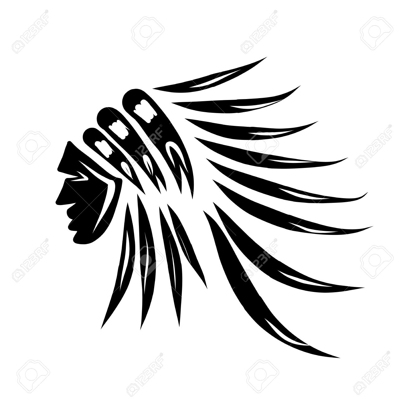 Head of indian chief, black silhouette for your design.