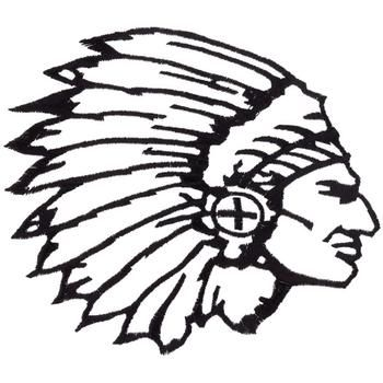 Indian Chief Head Outline Embroidery Design.