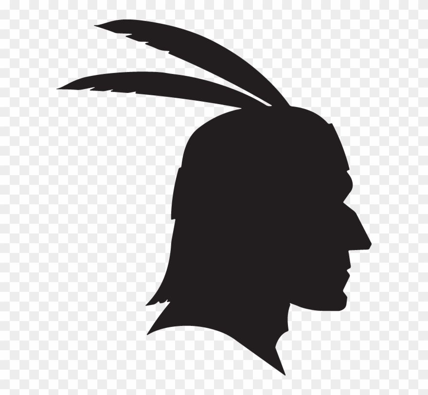 Silhouette Of Native American Head With Feathers.