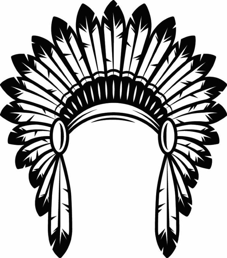Indian Headdress #1 Native American Head Dress Tribe Chief Costume Ornate  Feather Tattoo Logo .SVG .EPS .PNG Vector Cricut Cut Cutting File.